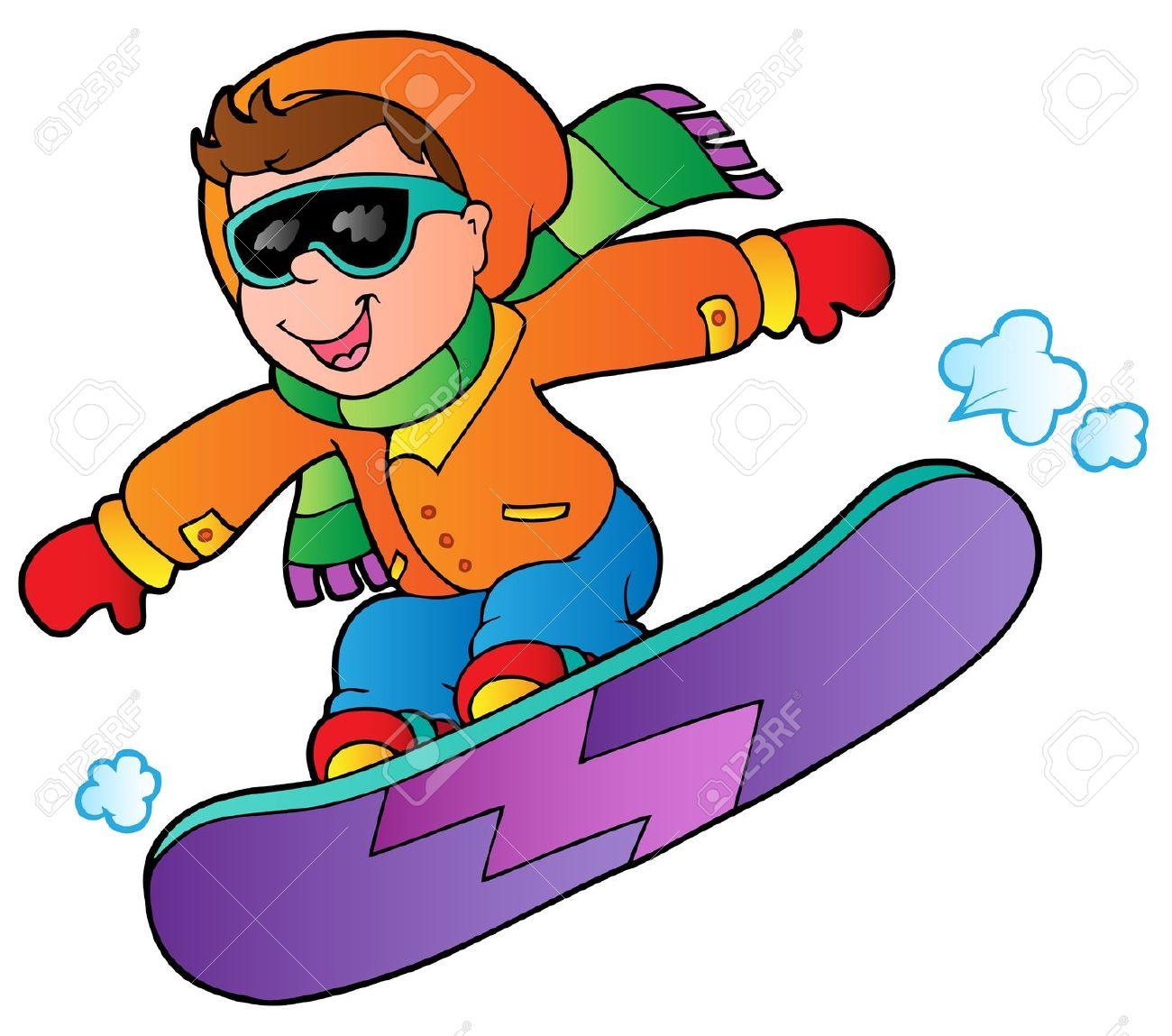 Clip art of snowboarding