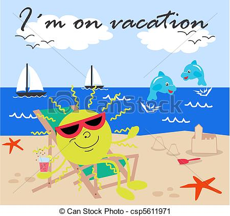 Clip Art Of Vacation Im On Vacation Csp5611971 Search Clipart