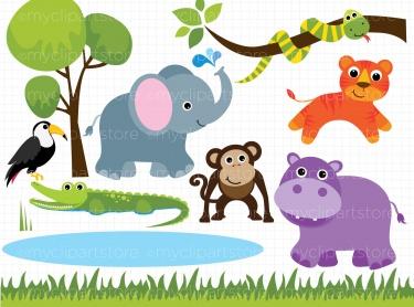 Clip art of zoo animals - .