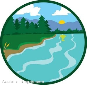 Clip Art Picture Of An Icon Showing A Lake In The Mountains Clipart