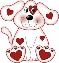 Clip Art Puppy Valentine .