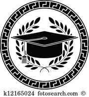 Clip Art. square academic cap. stencil