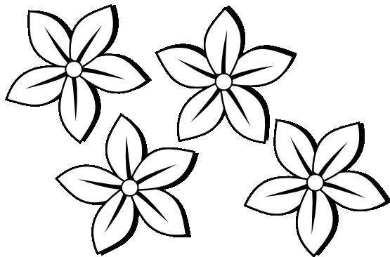 Clipart Black And White Four Flowers Flora 80 Black White Line Art