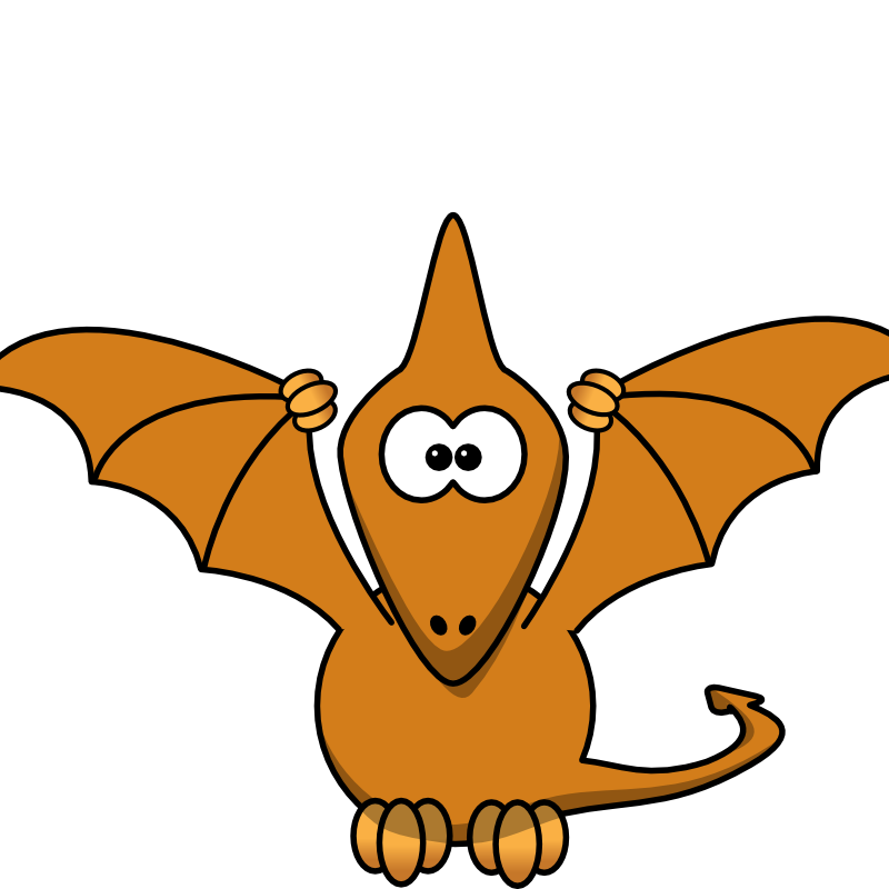 Clipart - Cartoon pterodactyl with upraised wings