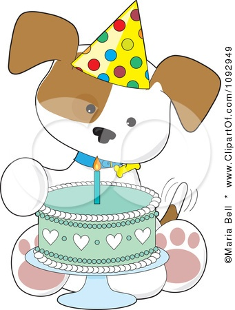 Clipart Cute Birthday Puppy With A Party Hat And Cake - Royalty Free Vector Illustration by