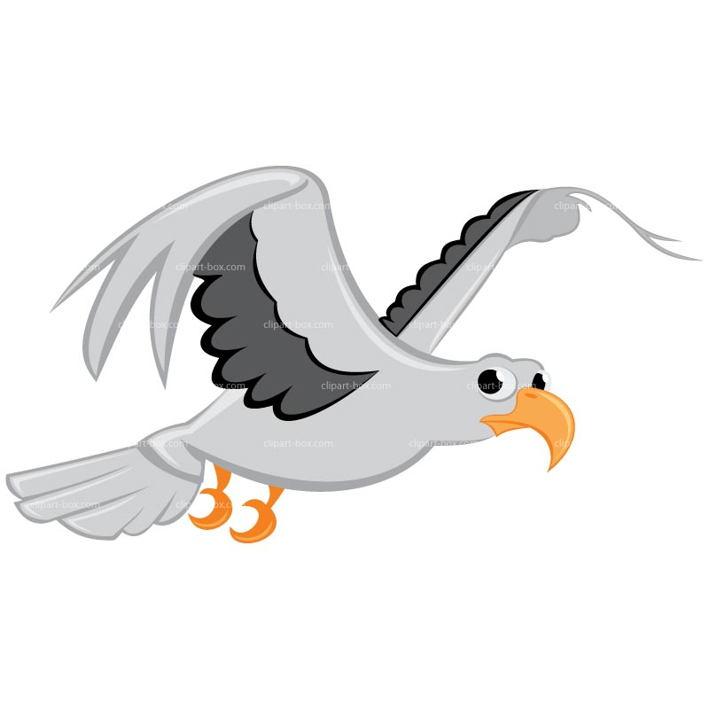 Clipart Flying Seagull Royalty Free Vector Design