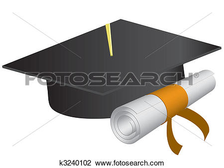 Clipart - Graduation cap and diploma on a white background., vector illustration. Fotosearch