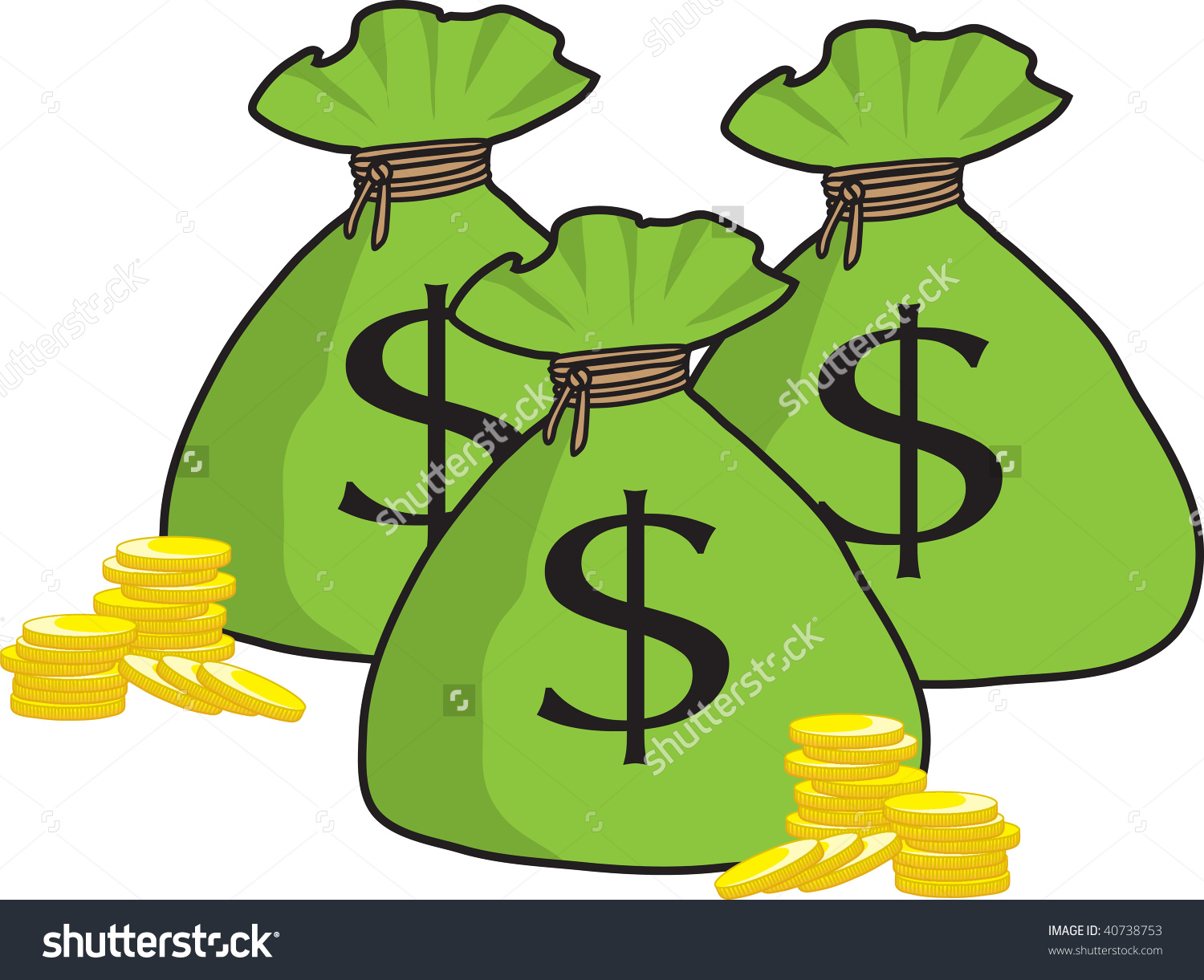 clipart illustration of a bunch of money bags with golden coins