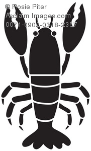 Clipart Illustration of a Silhouette of a Lobster