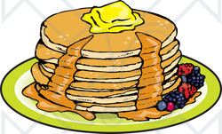 Clipart Illustration Of A Stack Of Six Buttermilk Pancakes Topped With