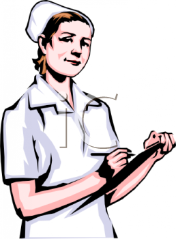 Clipart Image Nurse Holding A Clipboard With A Patient Chart On It
