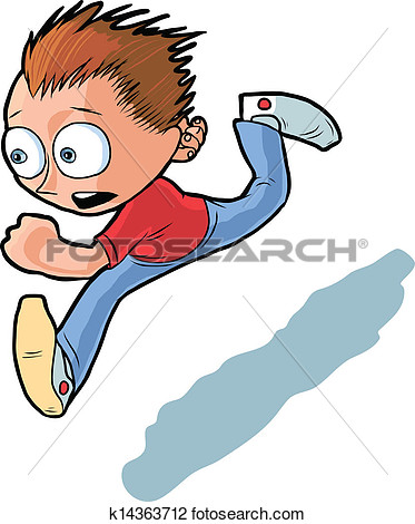 Clipart of A boy running at .