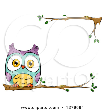 Clipart Of A Cute Perched Owl ..