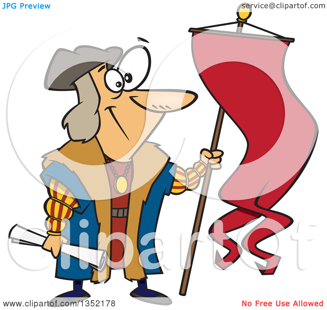 Clipart of Cartoon Christopher Columbus Holding a Scroll and Flag - Royalty Free Vector Illustration by Ron Leishman