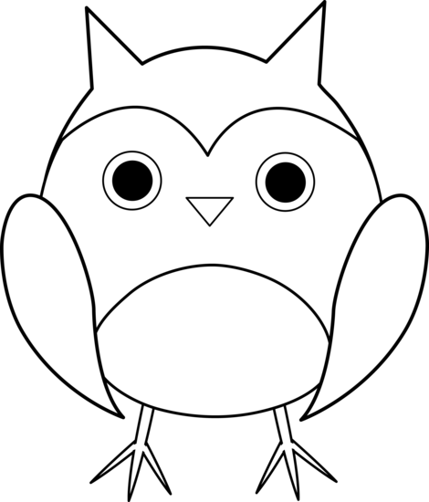 Clipart of owl black and white .