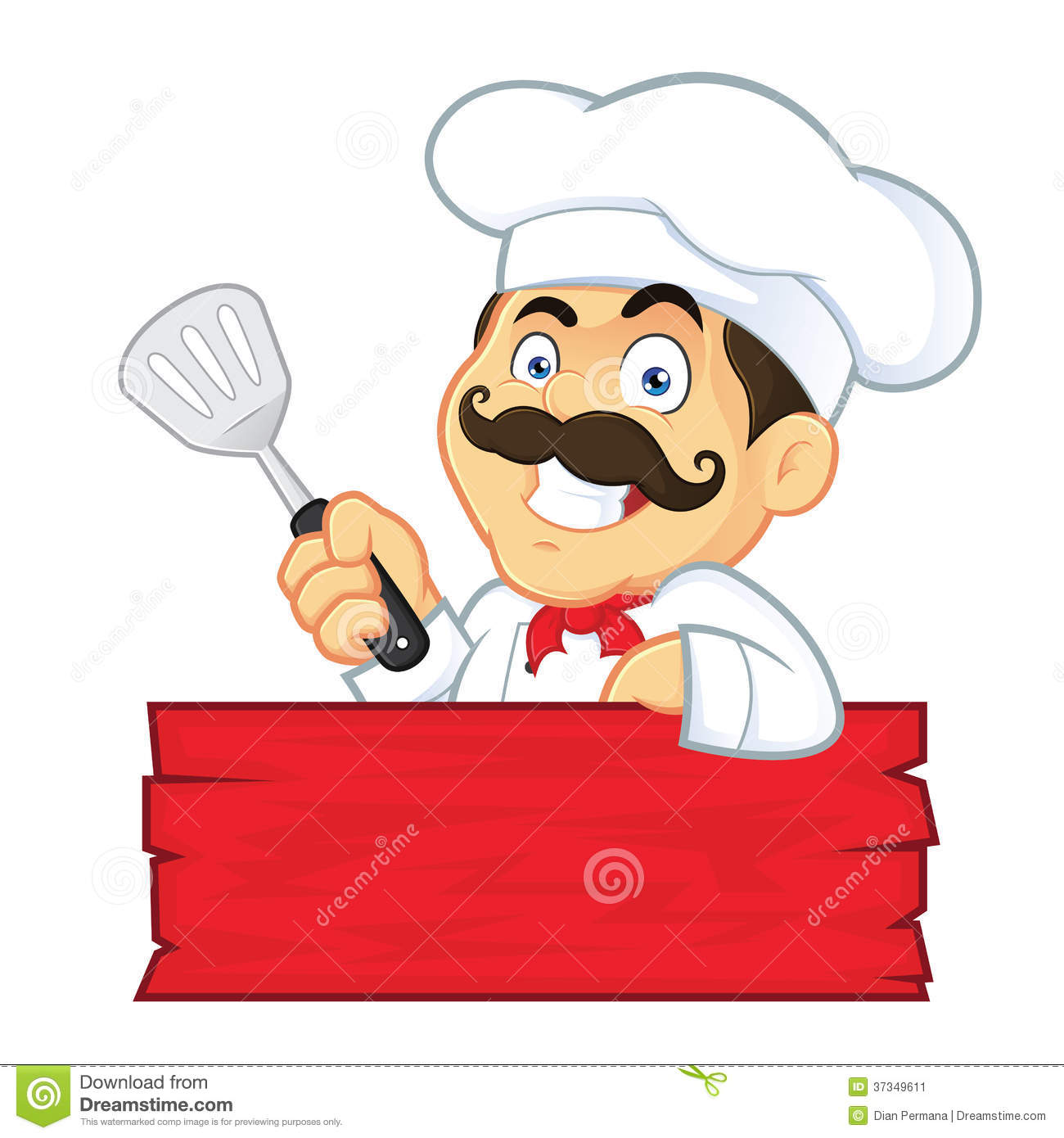 Clipart Picture Of A Chef Cartoon Character Holding Spatula