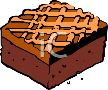 Clipart Picture Of A Chocolate Brownie With Caramel Icing