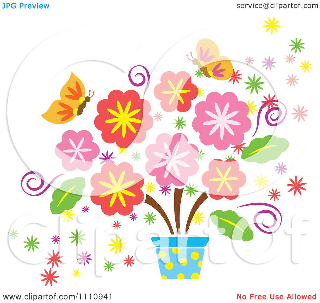 Clipart Spring Flowers In A Pot And Butterflies - Royalty Free Vector Illustration by Cherie Reve