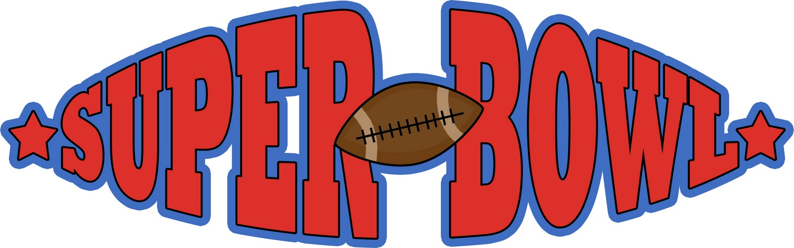 ... Clipart Super Bowl Football Banner: Colorful Banner with a football and stars Bright red text