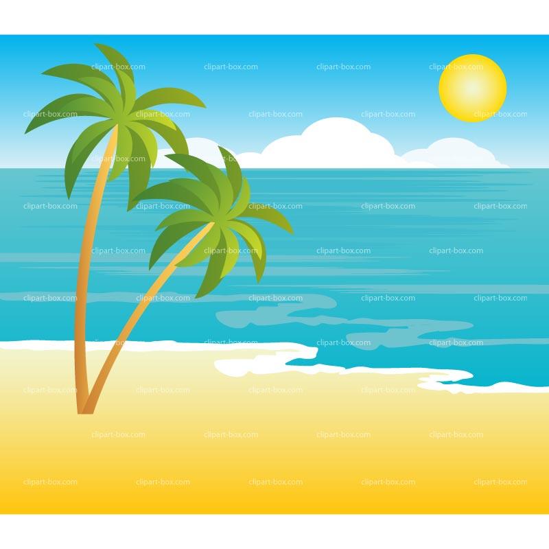 Clipart Tropical Landscape Royalty Free Vector Design