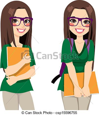 Clipart Vector Of Cute Nerdy Girl Student Cute Teenage Girl Student