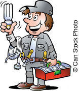 ... Clipartby DrawShop36/2,299; Handyman, holding a bulb - Hand-drawn Vector illustration of.