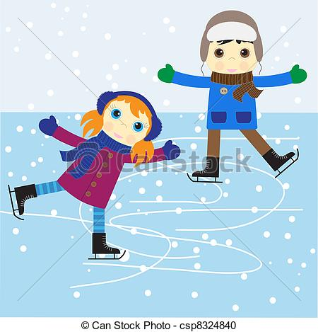Clipartby Jesser1/109; Ice skating boy and girl. vector illustration.