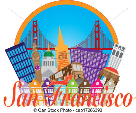 ... Clipartby jpldesigns5/759; San Francisco Abstract Skyline Golden Gate Bridge.