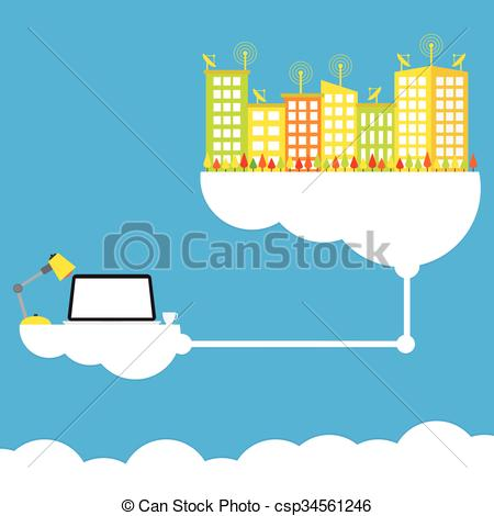 Cloud Computing Concept Design Working Anywhere Anytime Modern Business  Information Technology