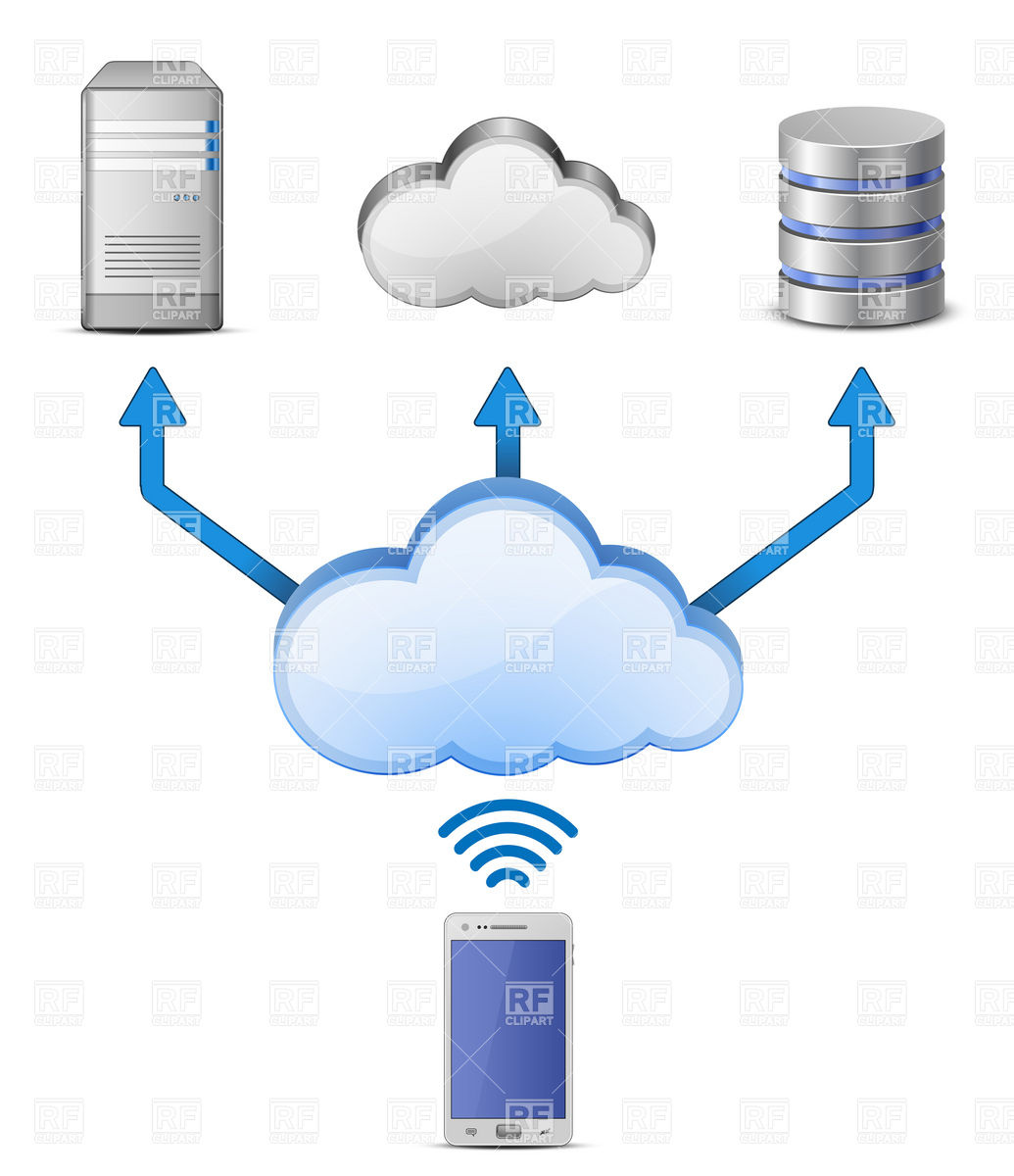 Cloud Computing wireless connection Royalty Free Vector Clip Art