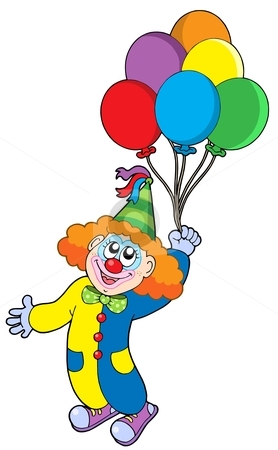 Cute Clown With Balloons Clipart #1
