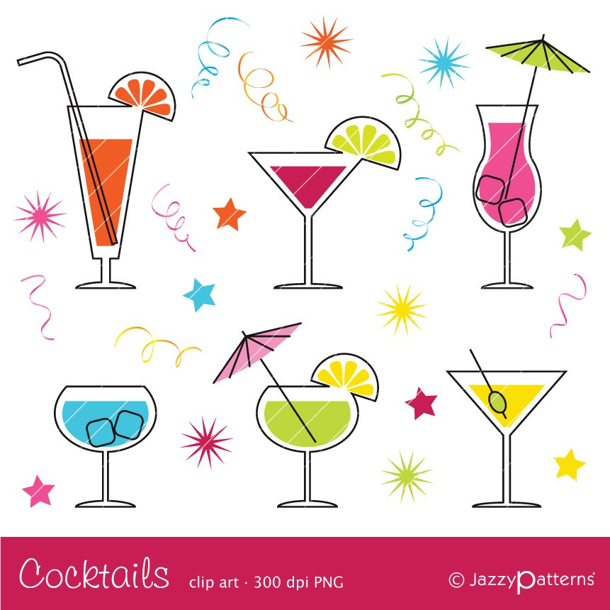 Cocktail clipart CA017 instant download