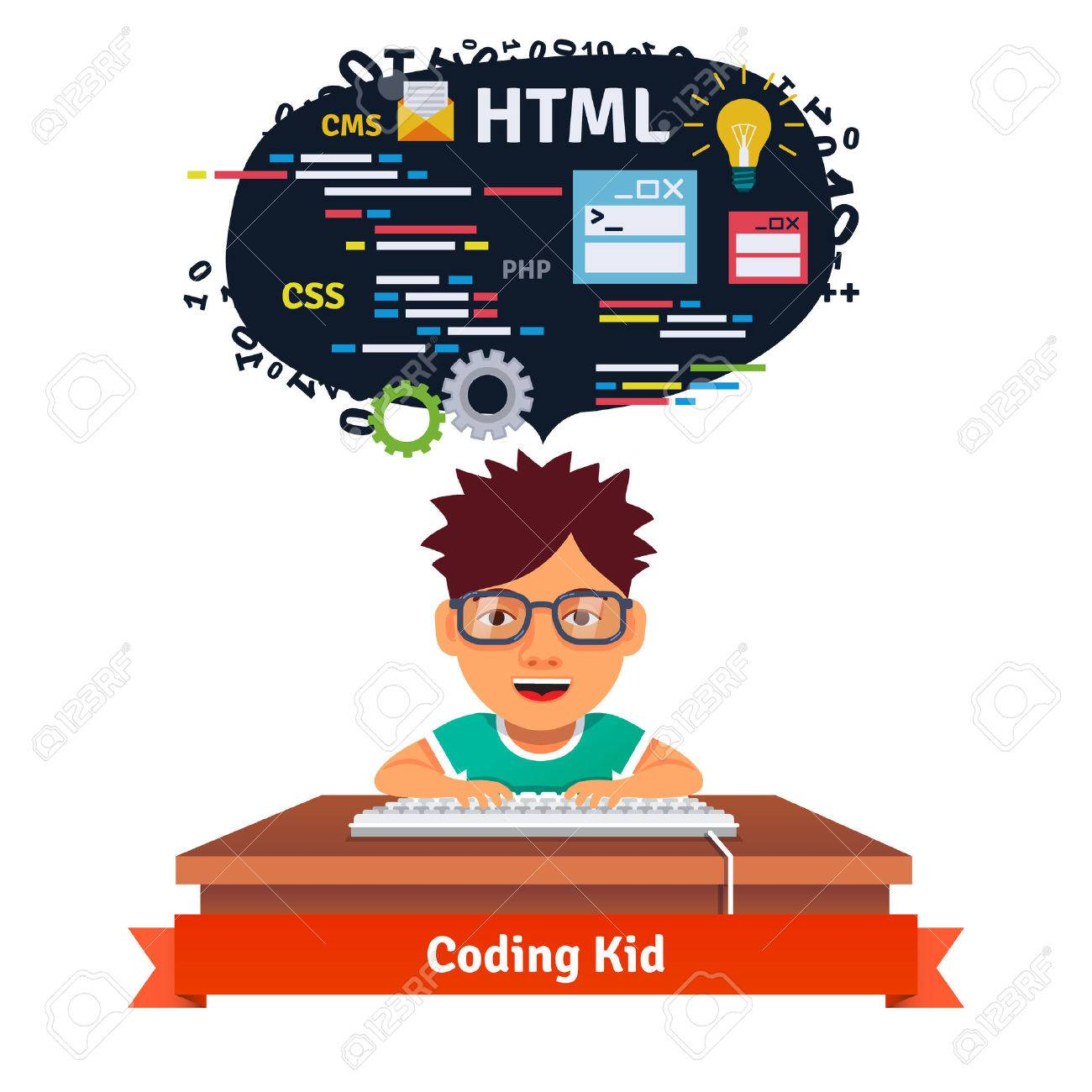 Kid is learning web design an - Coder Clipart