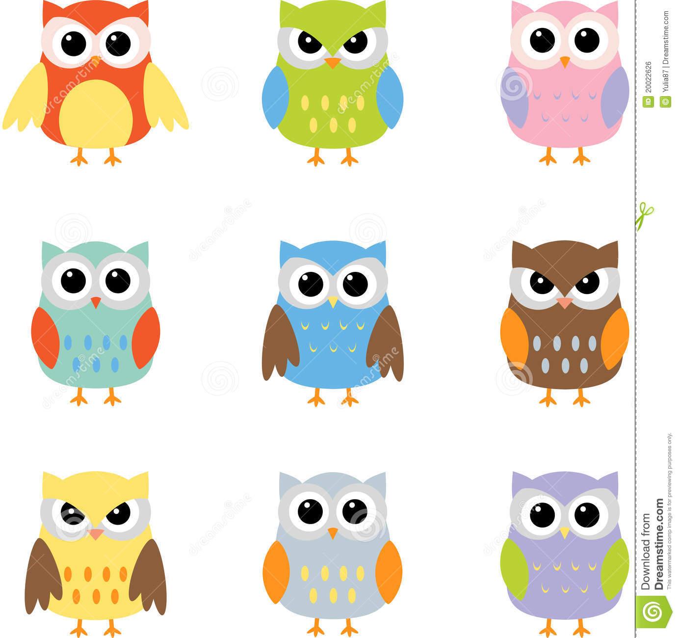 Color owls clip art .