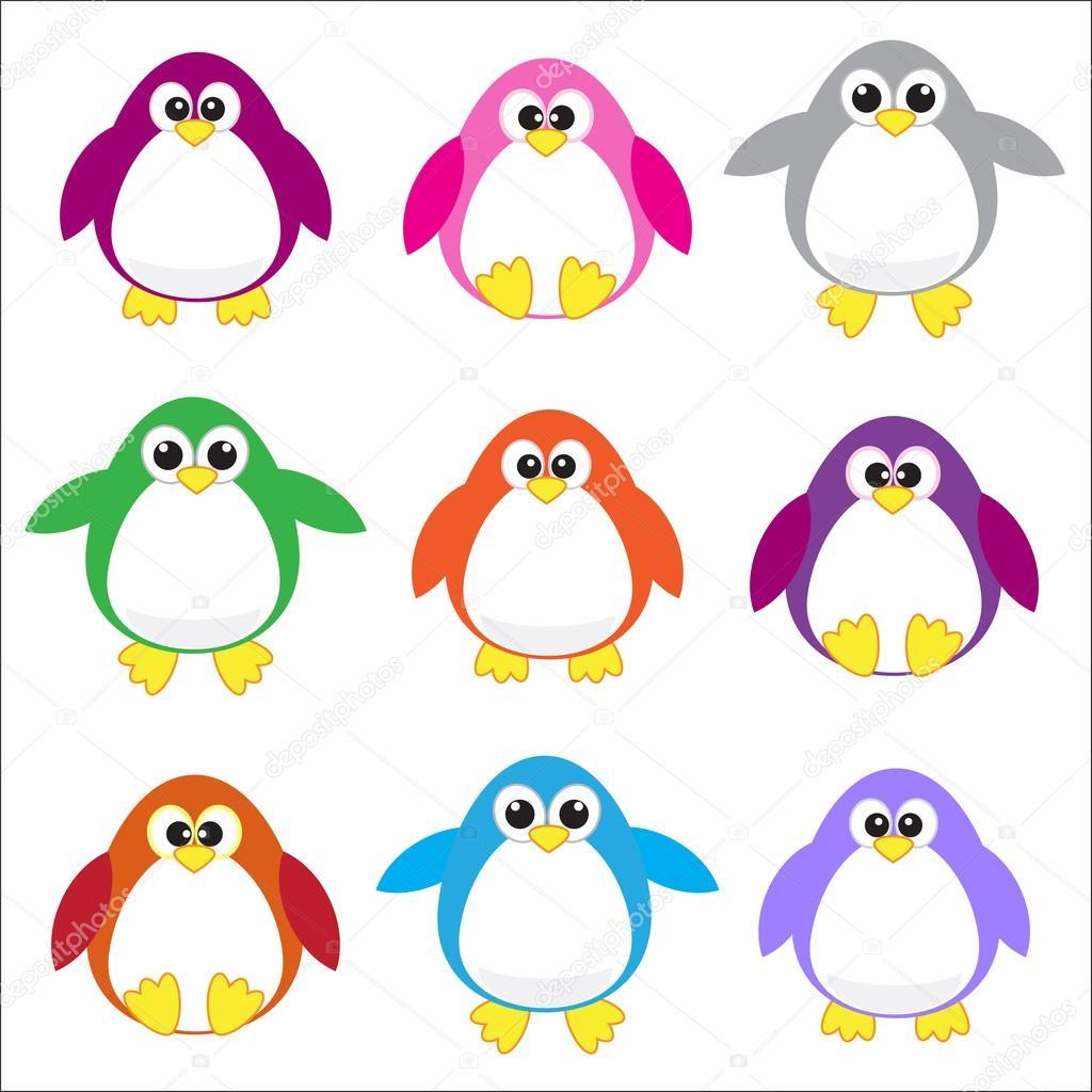 Color penguins clip art u2013 Stock Illustration