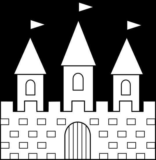 Colorable castle line art free clip art image