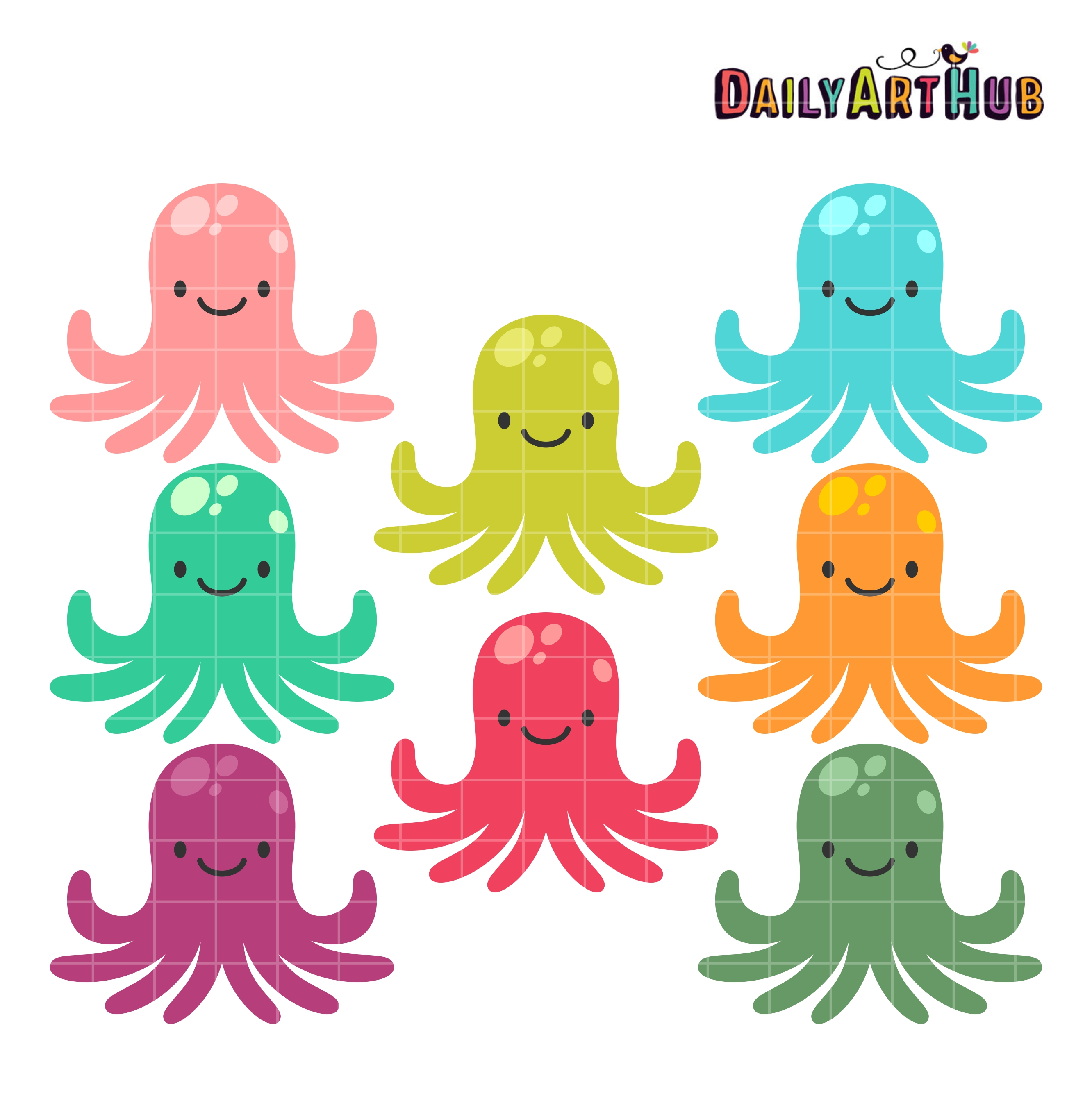 Colorful Cute Octopus Clip Art Set