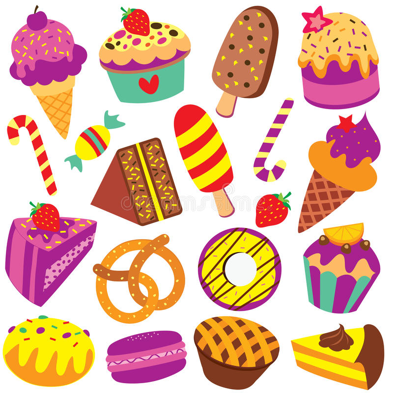 Colorful desserts, candy and cakes clip art set