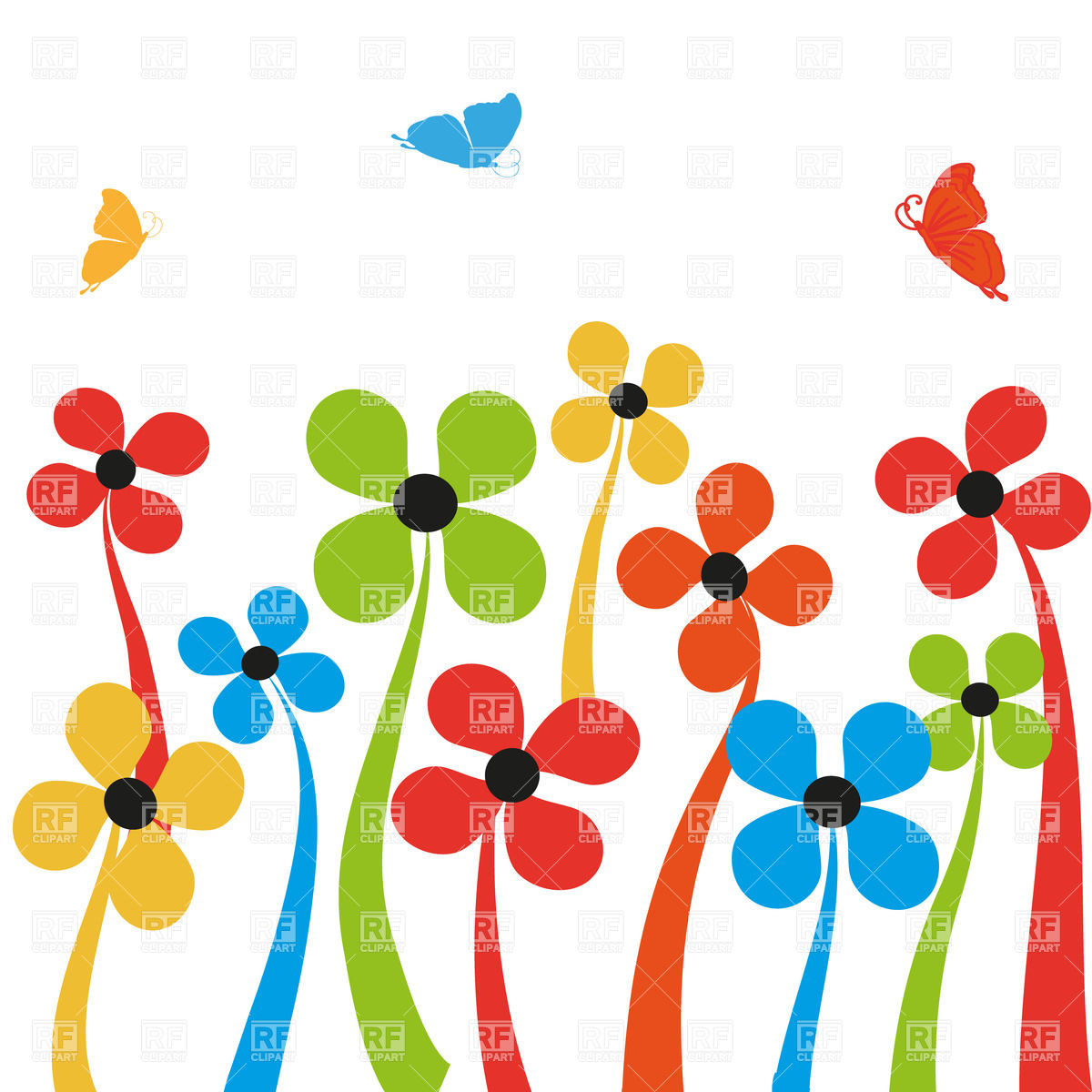 Colorful simplistic cartoon flowers and butterflies Royalty Free Vector Clip  Art