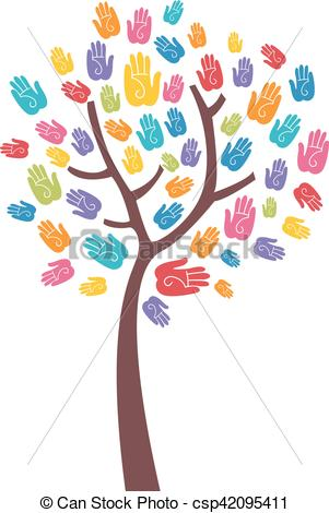 Tree Colorful Hand Print Design - csp42095411