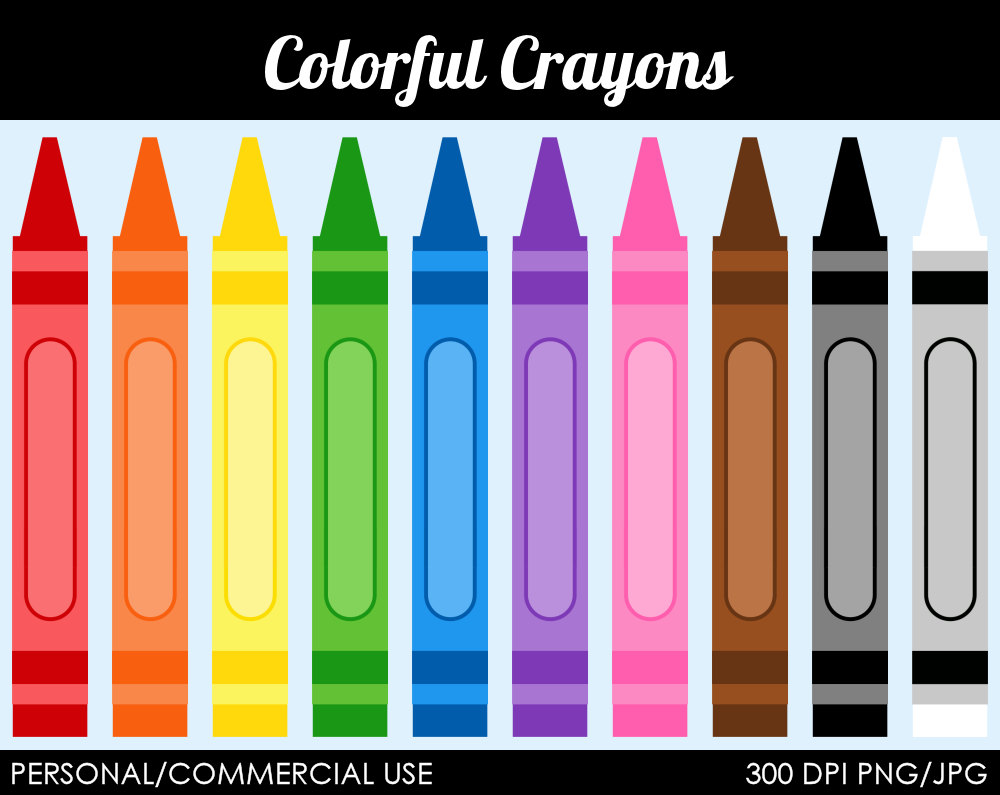 Colorful Crayons Clipart Digital Clip Art By Mareetruelove