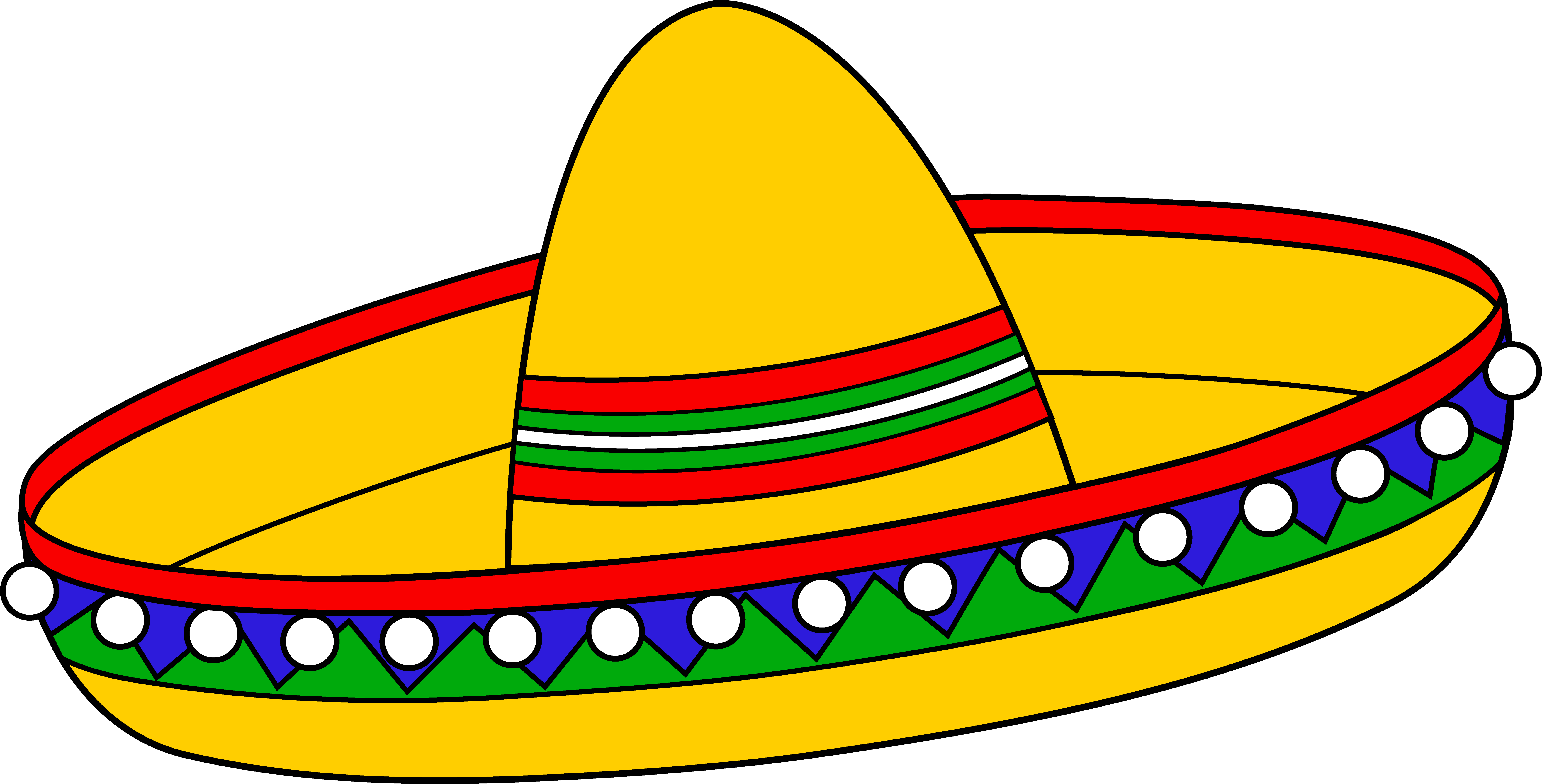 Colorful Mexican Sombrero Hat Free Clip Art Clipart - Free to use .