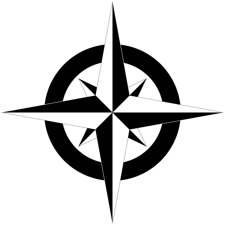 Compass Rose Bu0026amp;W Clipart .