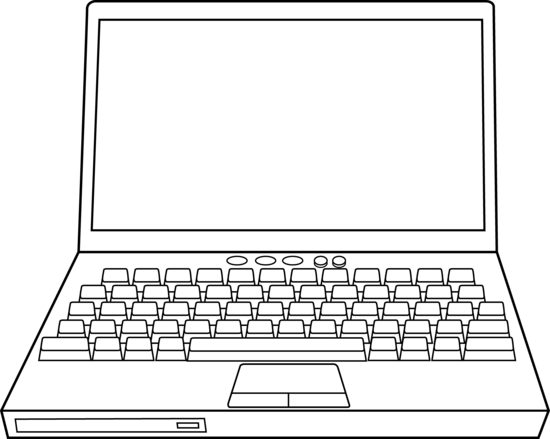 Laptop clipart black and white #4