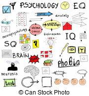 ... concept psychology, color doodle icons and symbols