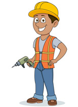 Construction Worker Holding Electric Drill Clipart Size: 88 Kb