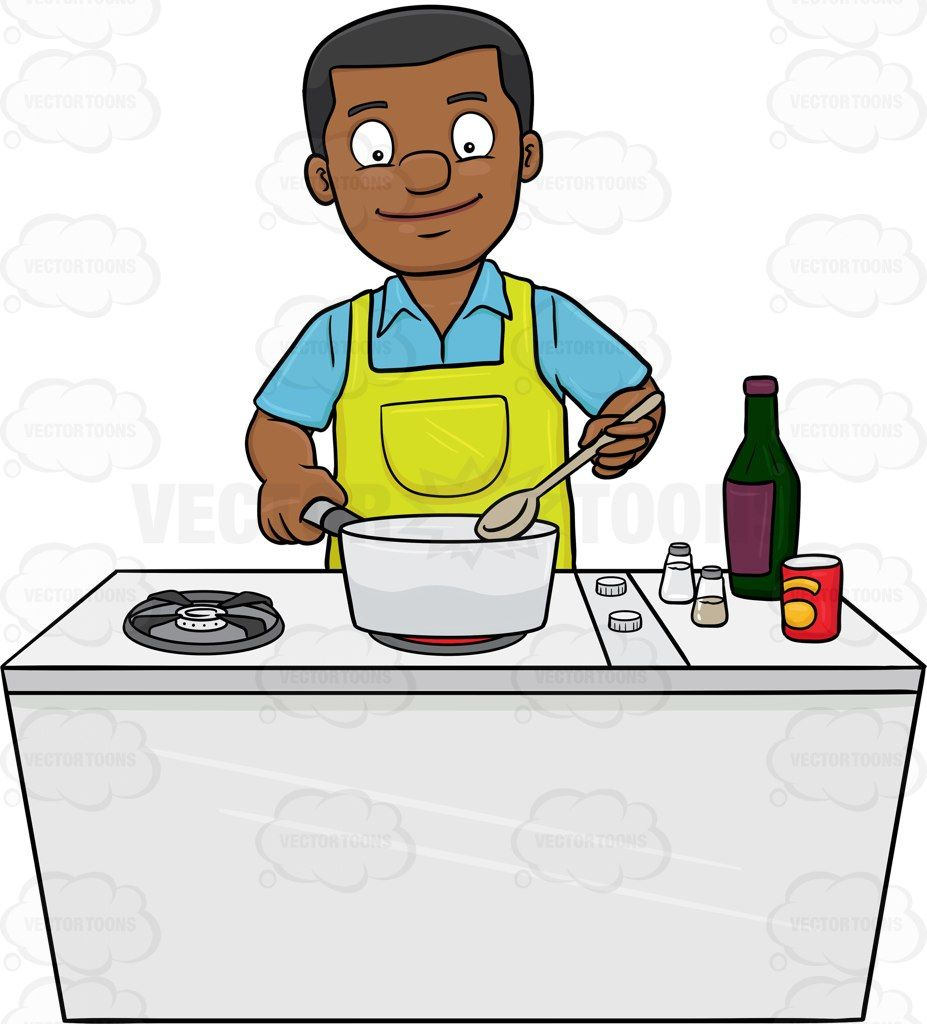 A Black Man Looks Happy At The Yummy Dish He Is Cooking Cartoon Clipart -  Vector Toons