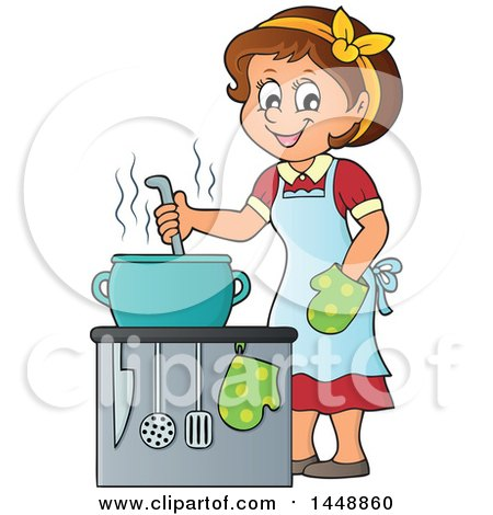 Clipart of a Cartoon Happy Brunette Housewife Cooking - Royalty Free Vector  Illustration by visekart