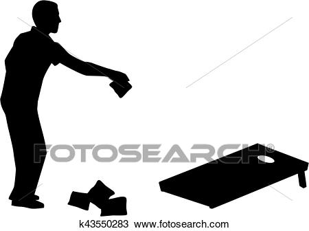 Clipart - Man playing Cornhole game silhouette. Fotosearch - Search Clip Art,  Illustration Murals