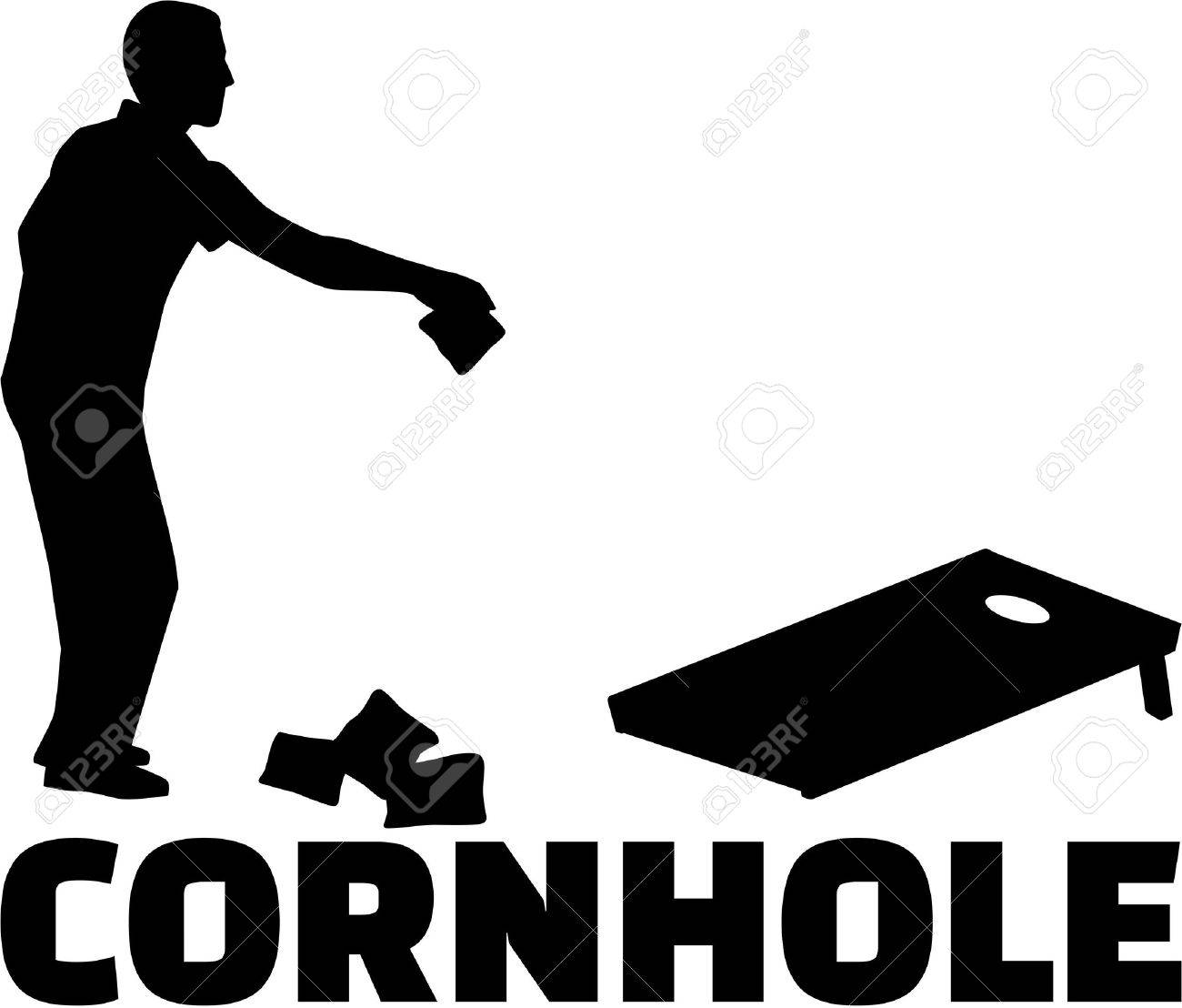 Cornhole game with silhouette and game name Stock Vector - 67921494